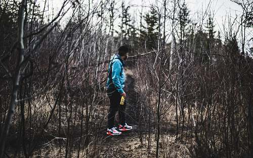 person man in blue jacket and black pants in woods human