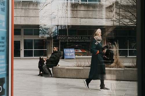 person man sitting on concrete block beside dog during daytime human