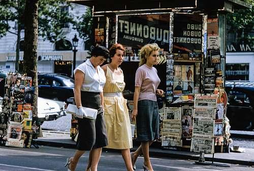 woman three women walking on road vintage