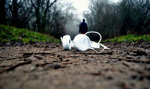 person tilt shift lens photography of white corded headphones forest