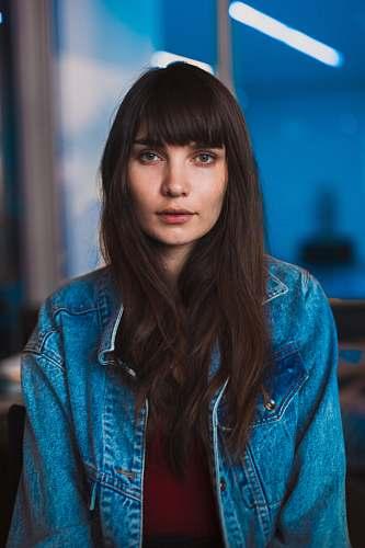 human woman wearing blue denim jacket person