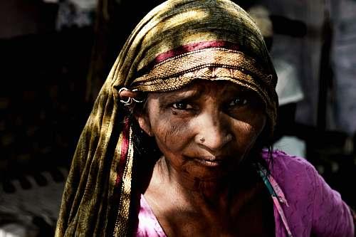 india woman wearing brown hijab veil female