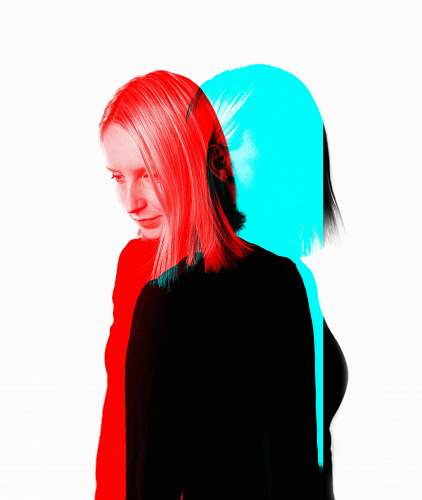 human woman with red and blue photo effects person