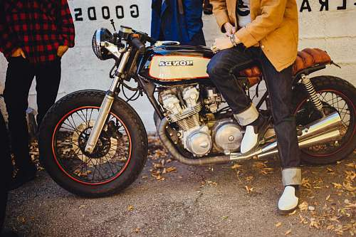 photo people black and gray Honda cafe racer bike free for commercial use images