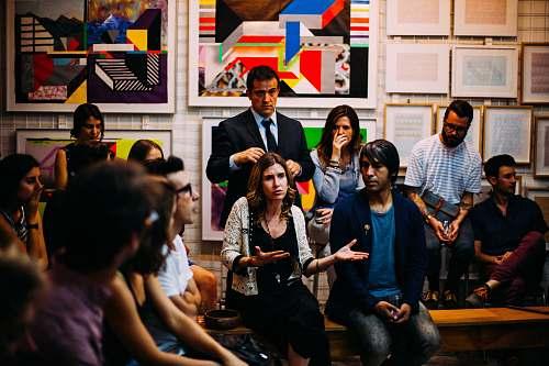 people people meeting in room human