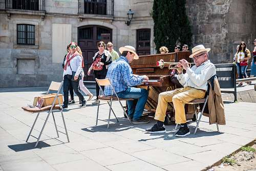 people two men performing music human