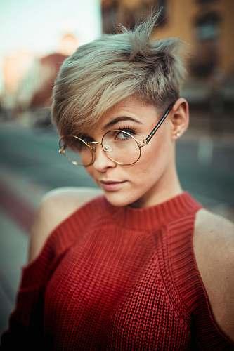 people woman wearing round eyeglasses human