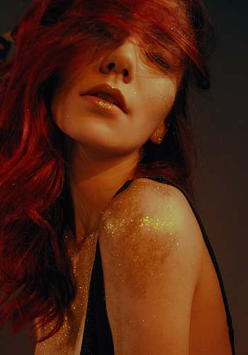 people woman with glitters on her body human