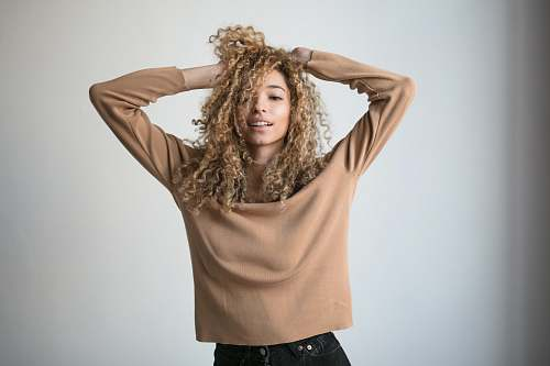 people women's brown long-sleeved blouse human