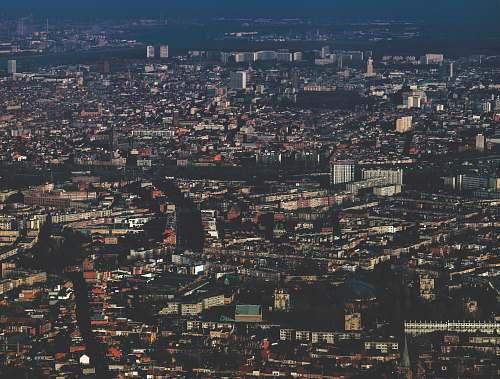 city aerial photo of city skyline town