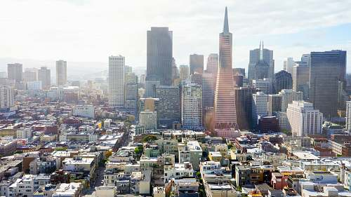 photo city aerial photography of concrete buildings under blue cloudy sky san francisco free for commercial use images
