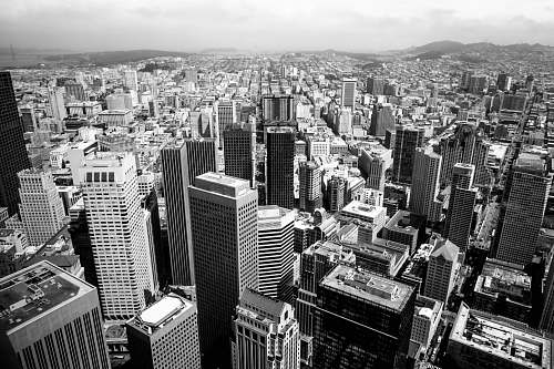 city aerial view of city black-and-white