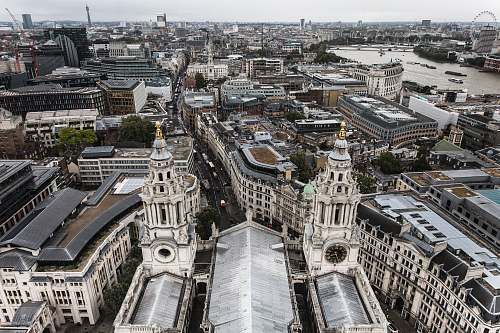 city aerial view of london architecture