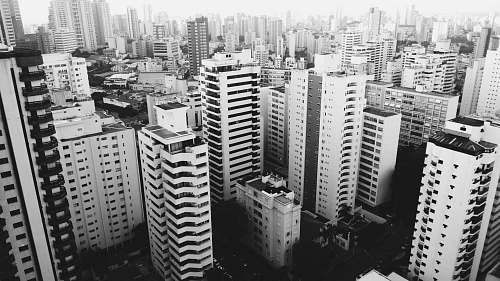city arial view of city in grayscale photo black-and-white