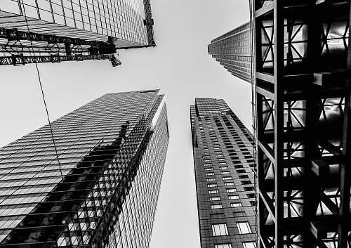 city bottom view of curtain wall highrise buildings during daytime black-and-white