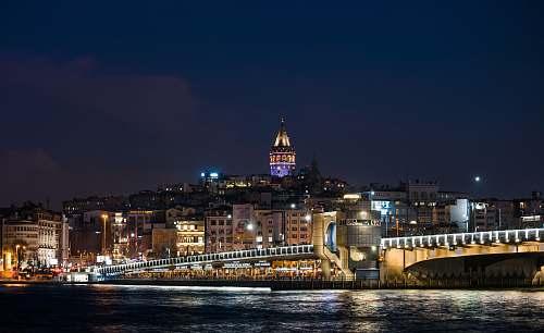 city city skyline at night-time metropolis