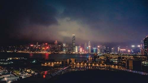 city city skyline during night time metropolis