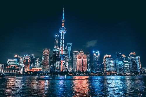 city city skyline nighttime town
