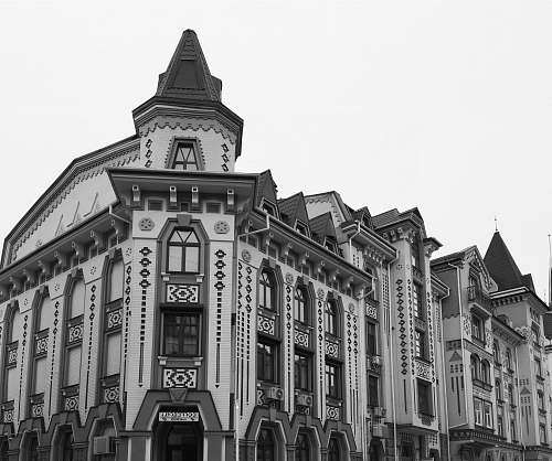 city grayscale photography of building architecture