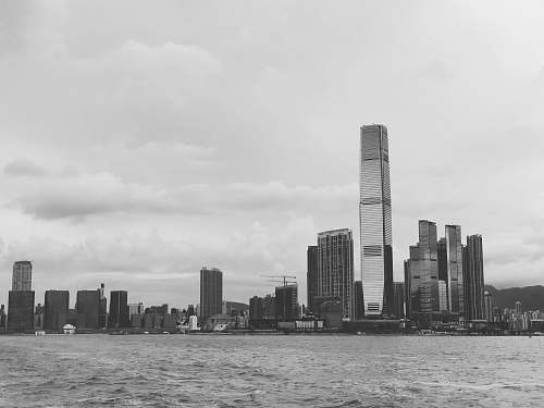 black-and-white grayscale photography of city skyline grey