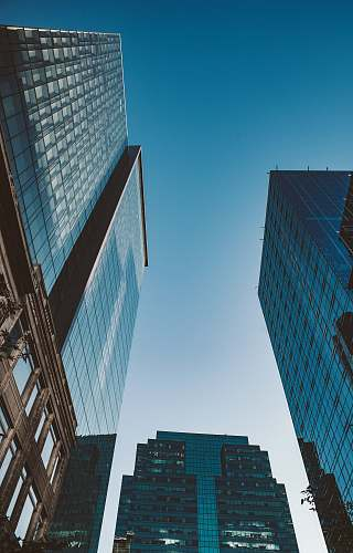 city low angle photography of high-rise buildings under calm sky architecture