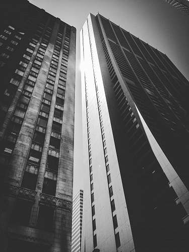 architecture lower angle photography of high rise building black-and-white
