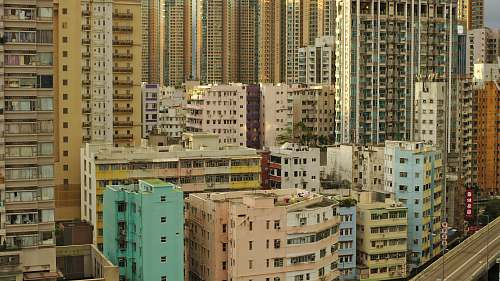 city multi-colored high-rise buildings high rise
