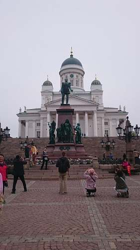 city people walking near Helsinki Cathedral during daytime downtown