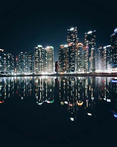 city reflection of high-rise buildings on body of water during nighttime town