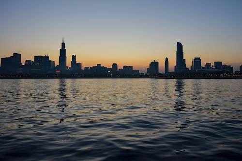 city silhouette of city skyline near body of water skyline