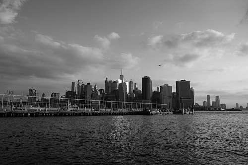 city skyline photo black-and-white