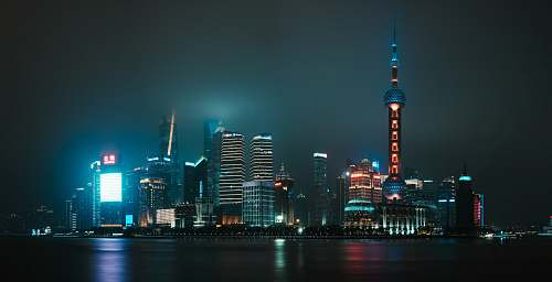 city skyline photography during night time town