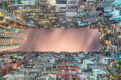 city worm's-eye view of buildings painting architecture