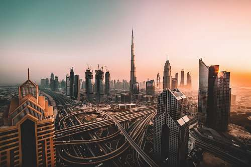 dubai aerial photo of city highway surrounded by high-rise buildings architecture