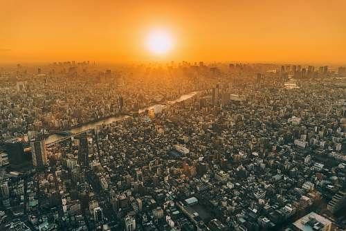 japan aerial view of city during golden hour tokyo