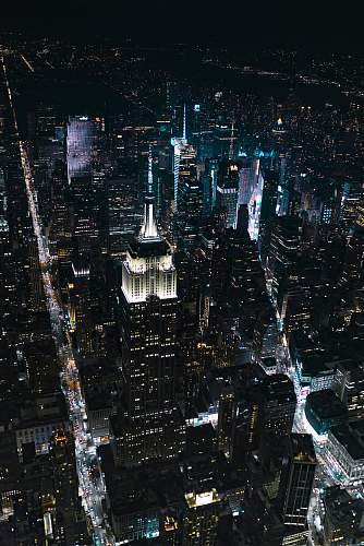 urban aerial view of city lights and lights