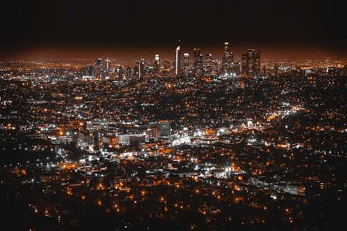 night aerial view of cityscape at night downtown