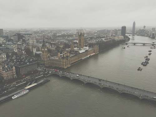 landscape aerial view of London England Big Ben grey