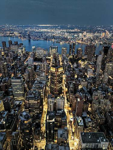 building areal view of city at nighttime nature