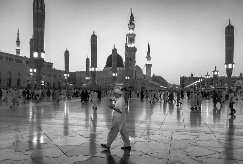 building grayscale photography of people on Mecca Sa black-and-white