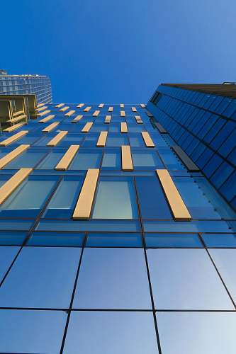 building low-angle photography of blue glass building office building