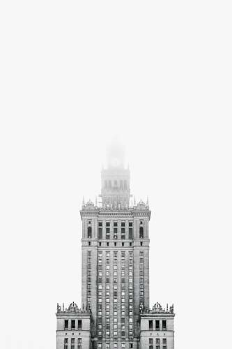 building Palace of Culture and Science building black-and-white