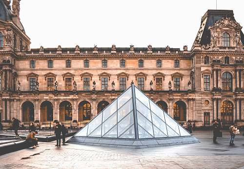 architecture people in Louvre Museum in Paris during daytime urban