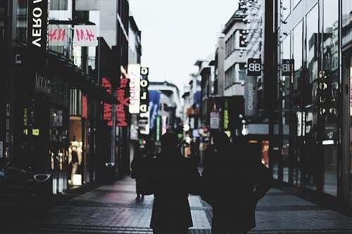 nightlife people walking on road night