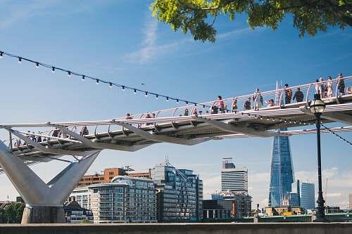 urban photo of people walking on bridge london