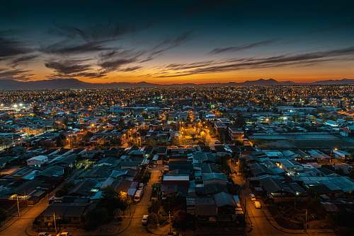 nature aerial photography of houses and buildings during night time outdoors
