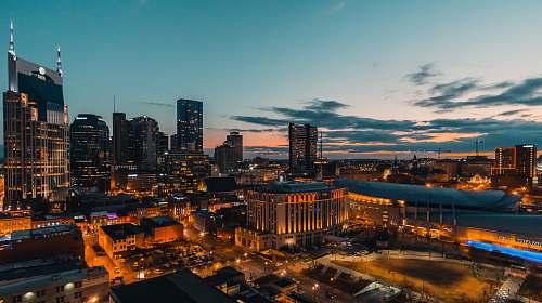 landscape city lights during dawn nature