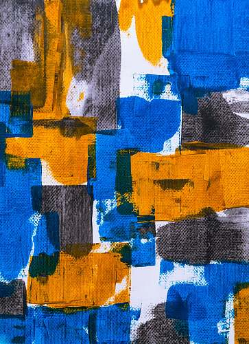 collage blue, orange, and gray abstract art poster