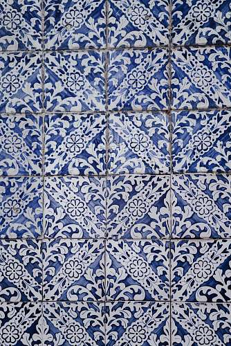 tile white and blue floral tiles rug
