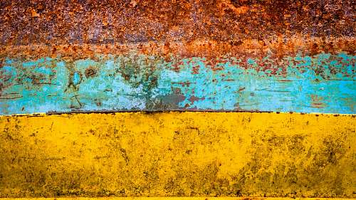 rust brown, blue, and yellow abstract painting netherlands